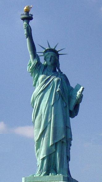 A verdigris statue